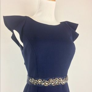 BHLDN navy blue gown worn once. Size 4